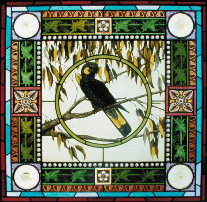 Yellow and Black Cockatoo stained glass window